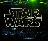 The opening title from the Star Wars film series is shown on screen while musicians perform during 'Star Wars: In Concert' at the Orleans Arena May 29, 2010 in Las Vegas, Nevada.