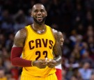 LeBron James Smiling After Scoring a Field Goal