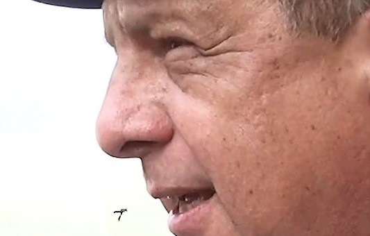 Costa Rican President Luis Guillermo Solis got a flying snack during an interview.