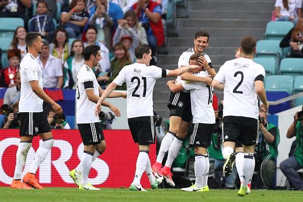 Germany celebrates after scoring against El Tri.