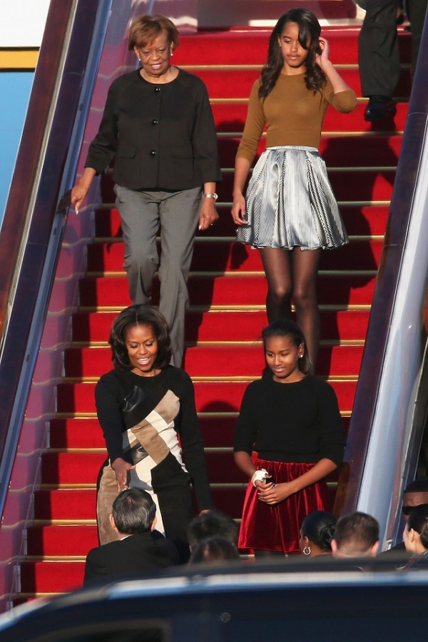 First Lady Michelle Obama mother Marian Robinson, daughters Sasha Obama and Malia Obama