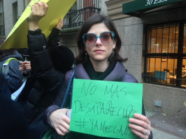 Ellen Swartz just one of over 300 Mexicans and friends protesting the missing students outside the Mexican Consulte in New York, Nov 20, 2014