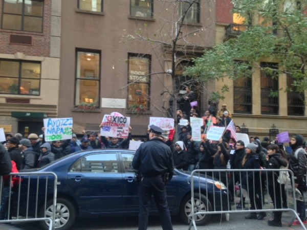 Hundreds of Mexicans Protest Outside The Mexican Consulate in New York To Show Global Solidarity Over The 43 Missing Ayotzinapa Students.