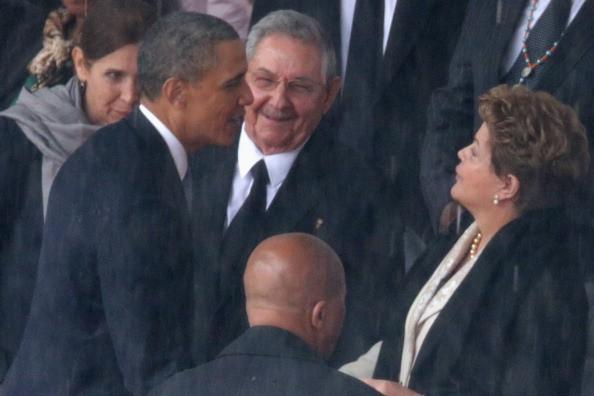 US President Barack Obama, Cuban President Raúl Castro and Brazilian President Dilma Rousseff
