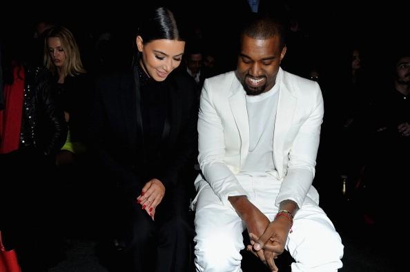 Kim Kardashian and Kanye West Givenchy - Front Row - PFW F/W 2013